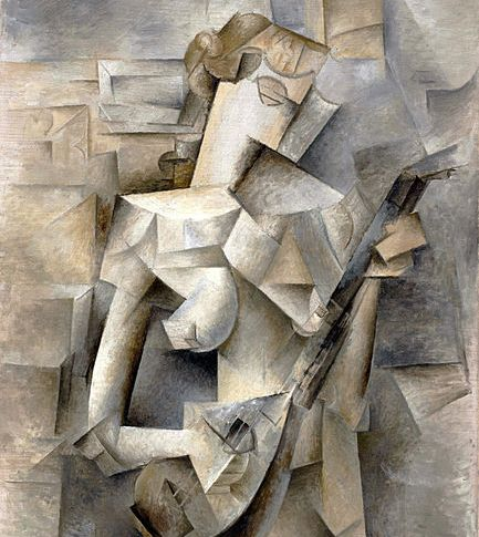 Pablo Picasso, 1910, Girl with a Mandolin (Fanny_Tellier), oil on canvas, 100.3 x 73.6cm, Museum of Modern Art New York